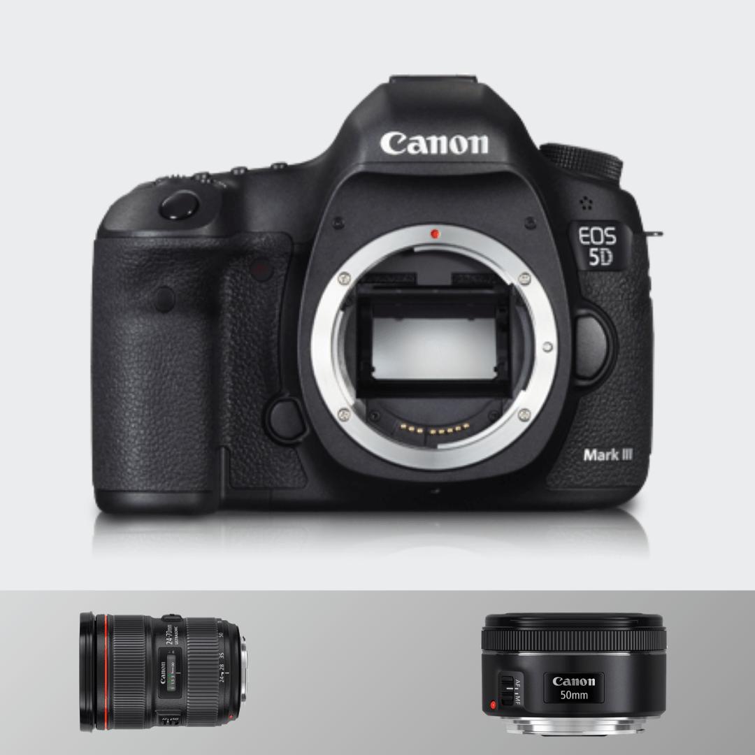 Canon 5d Mark III + 24- 70(F 2.8) + 50 MM (F1.8)