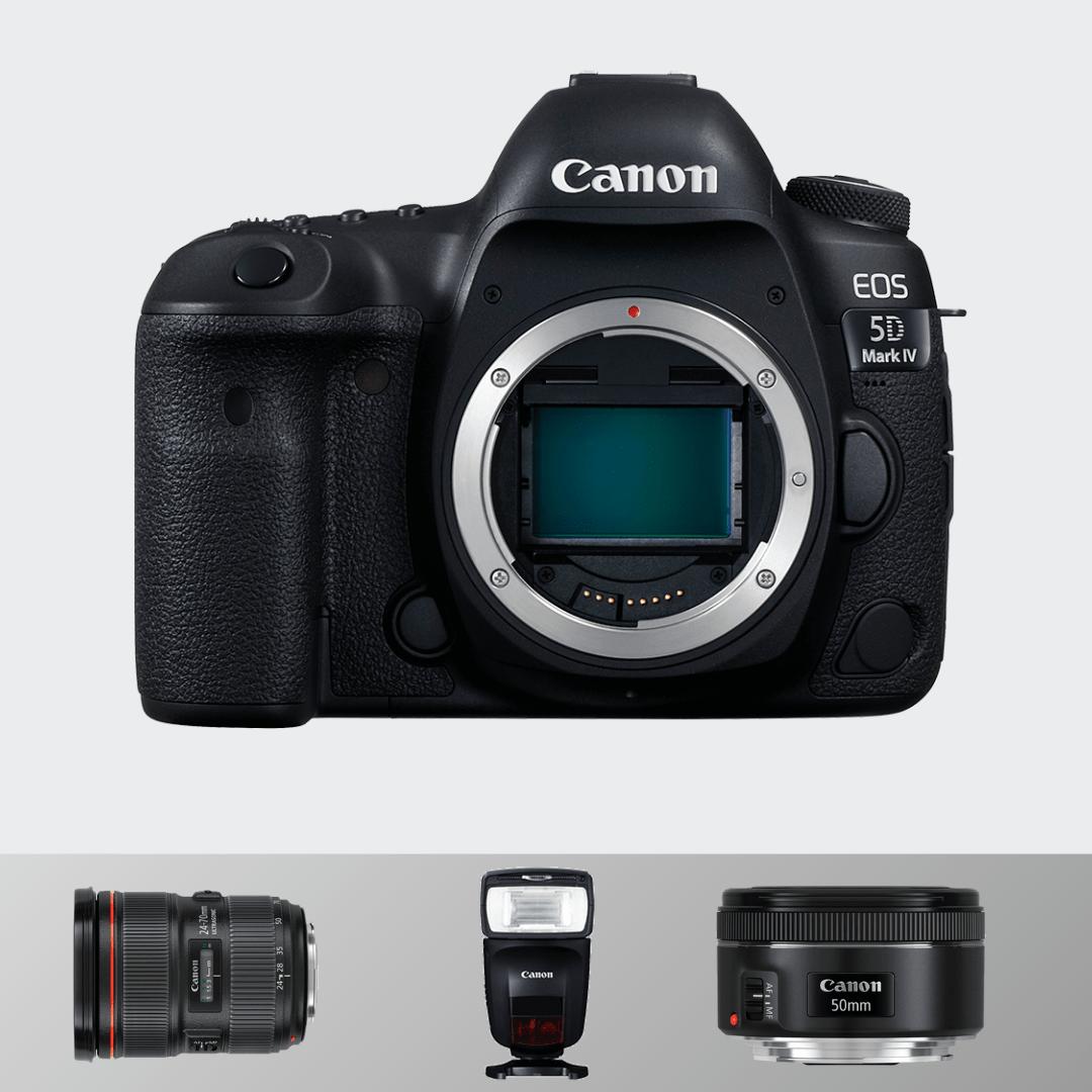 Canon 5d Mark IV + 24-70(F 2.8) + 50 mm(1.8) + Flash Light