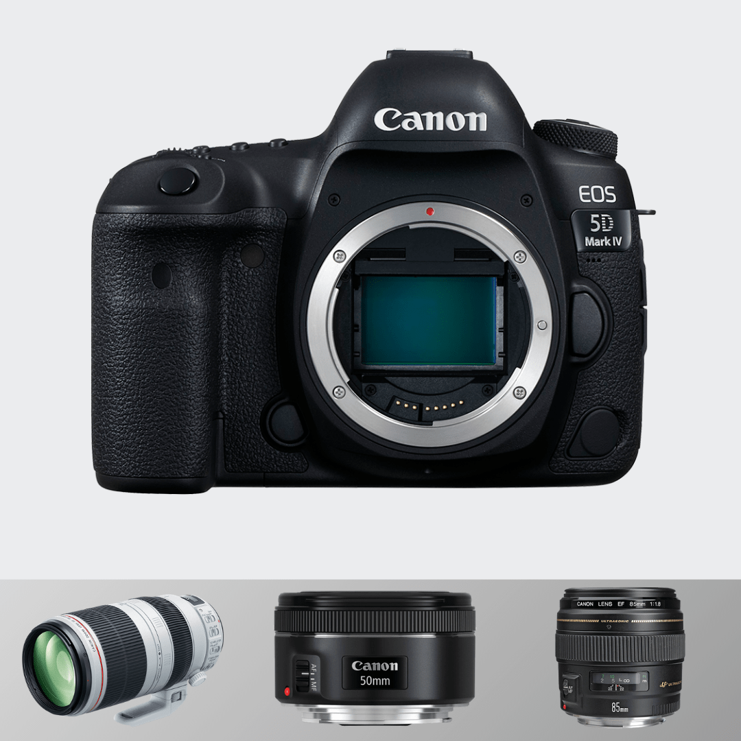 Canon 5d Mark IV + 70-200(F 2.8) + 50 MM (F1.8) + 85 mm (1.4)